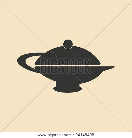 Flat in black and white mobile application teapot eastern