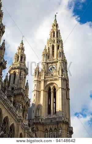 Partial view of Vienna City Hall,  Wiener Rathaus, Austria