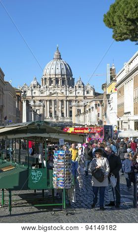 View on an area before Papal Basilica of Saint Peter in the Vatican