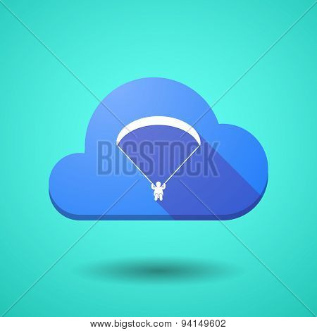 Cloud Icon With A Paraglider