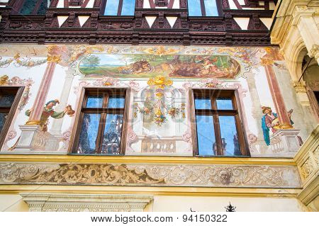 Partial view of the former royal Peles castle, Sinaia, Romania
