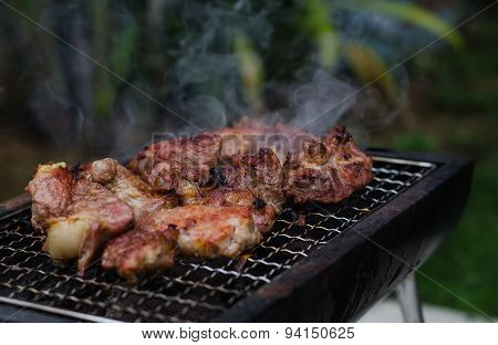 Grilled Pork On The Grill.