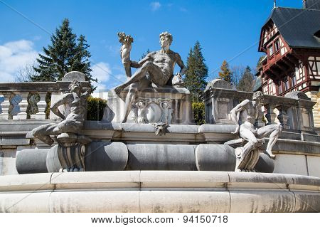 Sculpture in the garden of Peles Castle, Romania