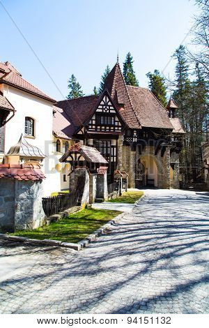 Entrance arch to the territory of Peles castle, Sinaia, Romania