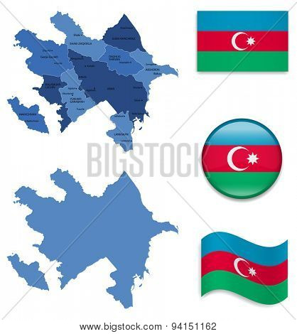 High Detailed Map of Azerbaijan With Flag Icons