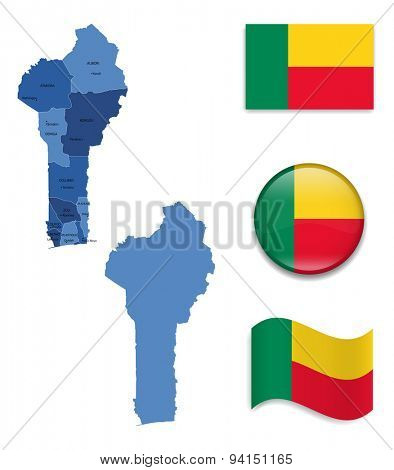 High Detailed Map of Benin With Flag Icons
