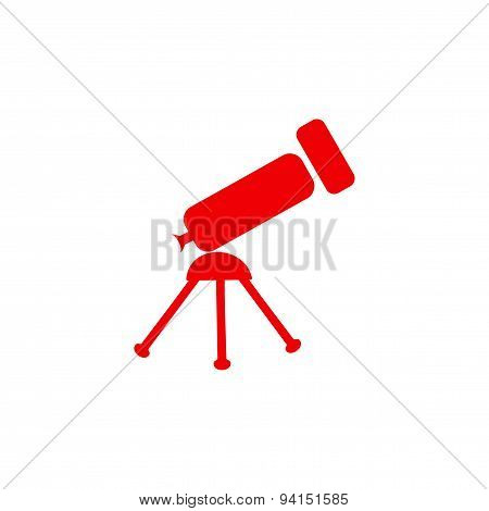 icon sticker realistic design on paper telescope