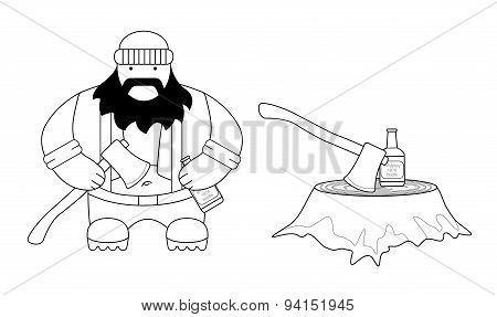 Fat lumberjack. Line-art