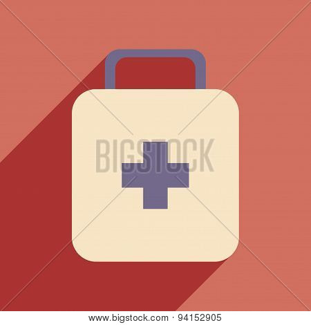 Flat with shadow icon and mobile application medicine chest