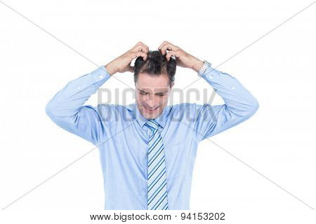 Anxious white hair businessman against a white screen