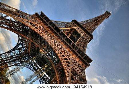 The Eiffel Tower in HDR from its bottom