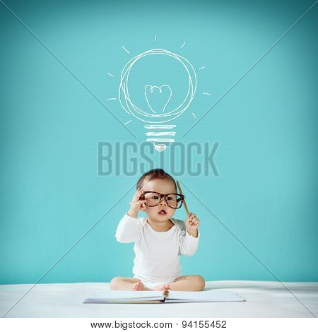 Concept, Idea Of Happy Little Baby With Bulb At Blackboard, New Family And Love Concept, Studio Shot
