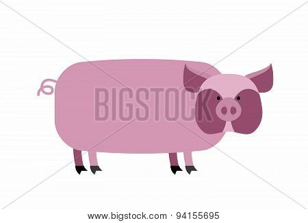 Fat pig on a white background. Farm animal. Vector illustration