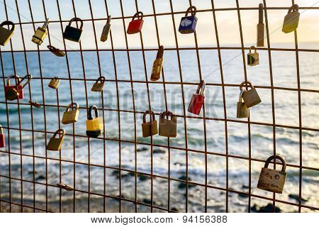 Love locks hanging on the fence