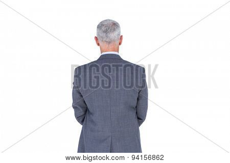 Wear view of businessman with grey hair on white background