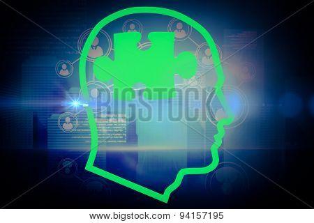 Jigsaw in head against futuristic technology interface