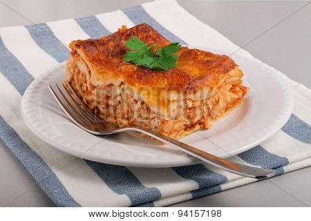 Tasty Fresh Lasagne On A White Plate
