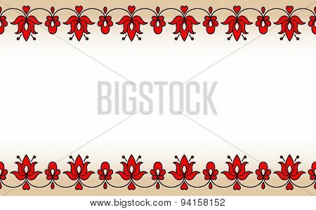 Seamless Band With Red Traditional Hungarian Floral Motives
