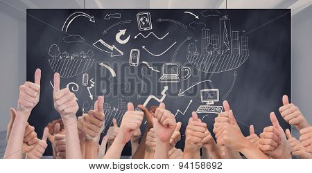 Hands giving thumbs up against composite image of black card
