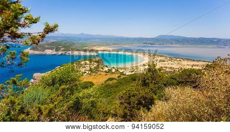 Beautiful lagoon of Voidokilia from a high point of view
