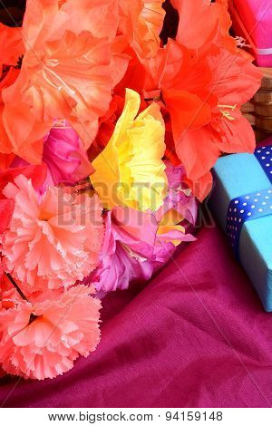 Sweet Color Flowers From Mulberry Paper Whith Holiday Gift Box
