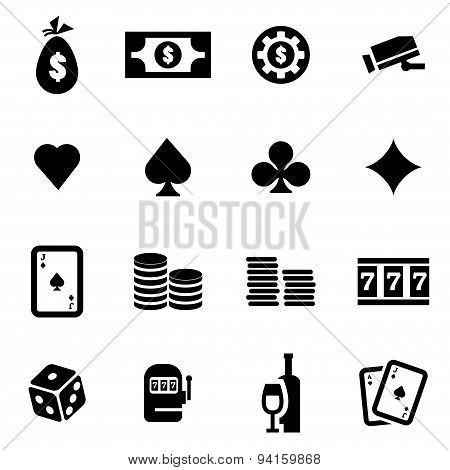 Vector Black Casino Icon Set