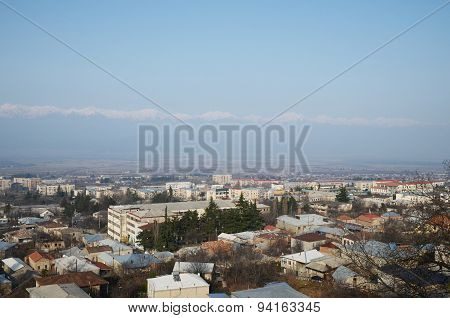 Top view of the town of Telavi, Alazani Valley and Caucasus Ridge