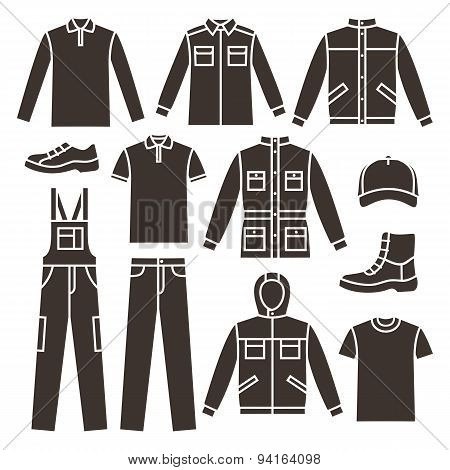 Men's working clothes. icons set