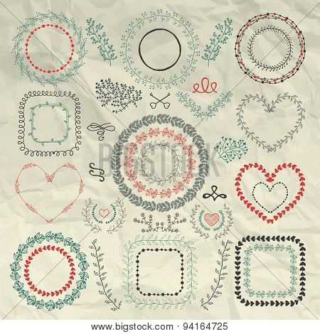 Vector Hand Sketched Floral Frames, Borders, Wreaths