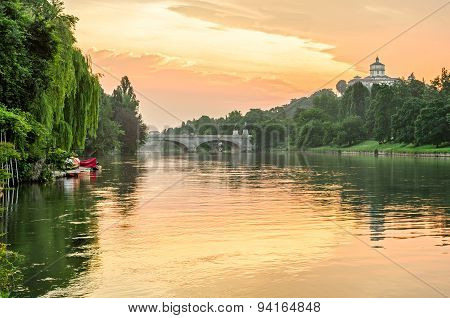 Turin (torino), River Po And Hills At Sunrise