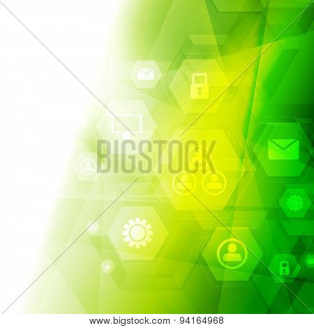 Abstract bright green tech background. Vector design