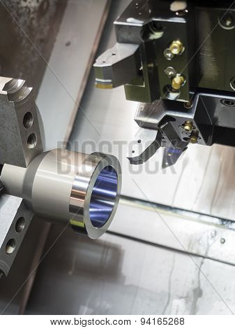 Industrial Metal Work Machining Process By Cutting Tool On cnc turning machine