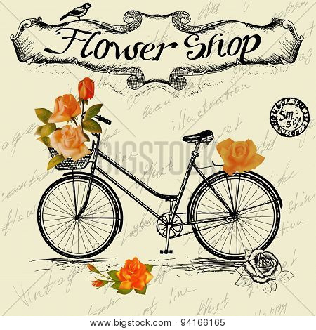 Vintage poster for flower shop design with bicycle.