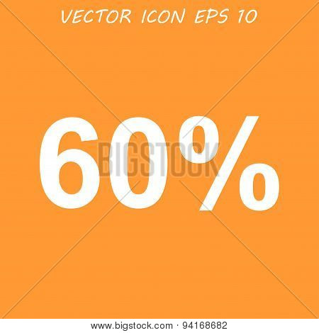 60% Tag Icon, Flat Design Style