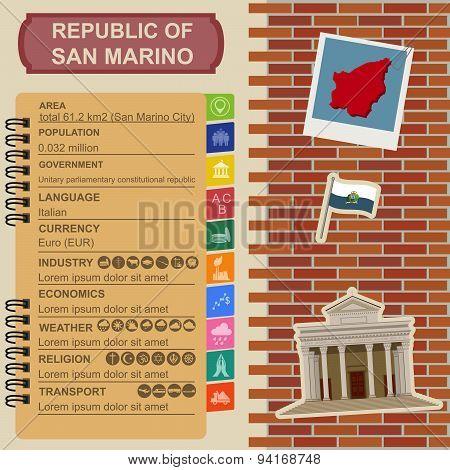San Marino infographics, statistical data, sights