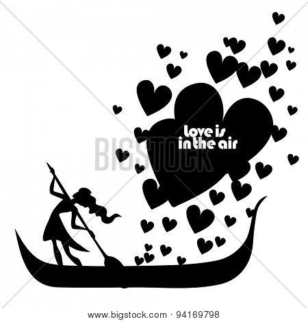 Vector isolated typography design element for greeting cards and invitations. Hand drawn inspirational and encouraging quote. Girl in boat with hearts.