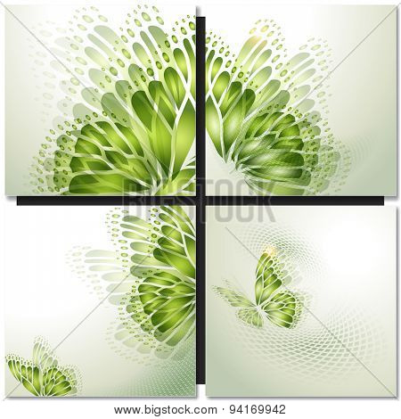 Set of eco icons. Look green - eye with green leaves and blue globe
