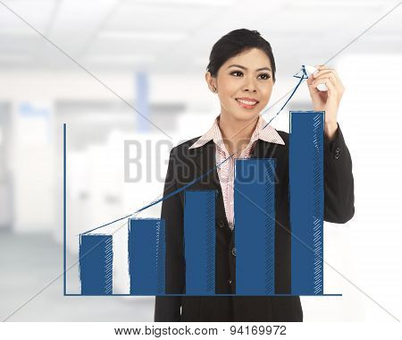 Business Woman Draw Increasing Chart