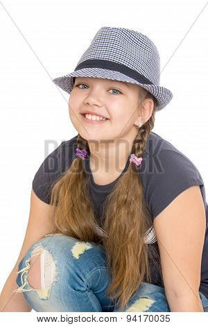 teenage girl in a hat, close-up