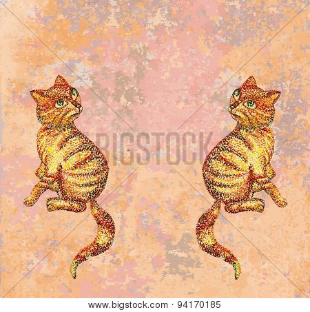 Vector cute happy red cats.