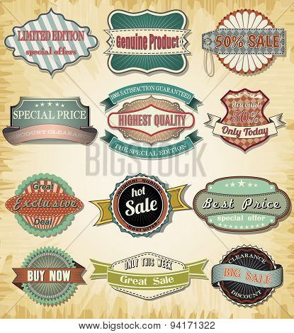 Collection of old color vintage label for design.