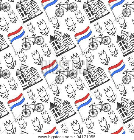 Hand Drawn Seamless Pattern With Holland City Elements. Netherlands Background For Design. Vector