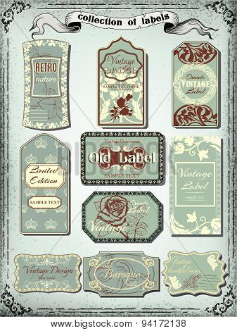 Collection of  color vintage labels for design.Victorian style.