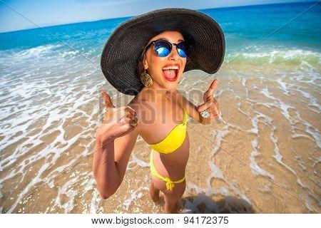 Woman having fun on the beach