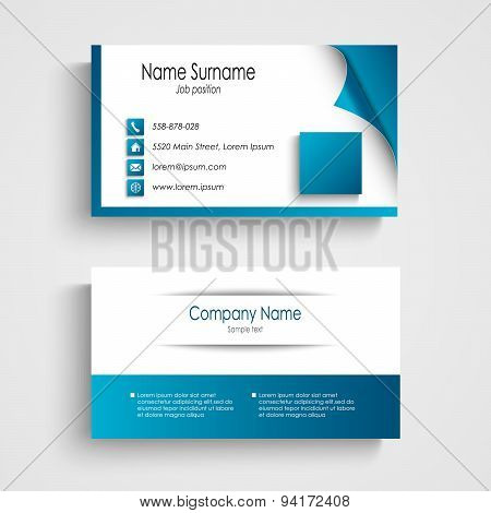 Business Card Modern Blue And White Template
