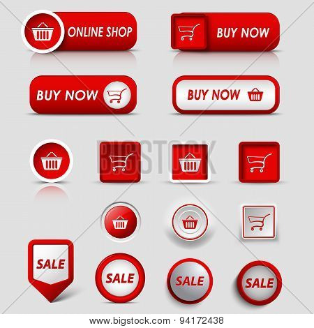 Collection Web Red Buttons And Pointers For Shopping