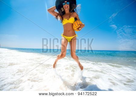 Woman having fun on the sea