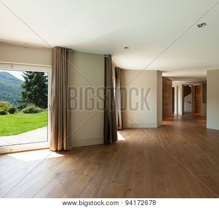 Architecture, detail living room with windows, parquet floor