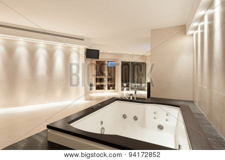 interior modern house,  wide marble bathroom with jacuzzi