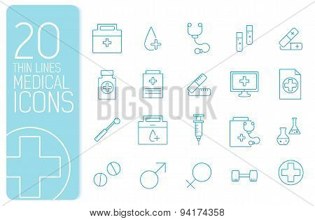 thin line medical set icons concept. Vector illustration template for your design